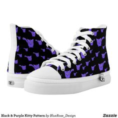Shop Black & Purple Kitty Pattern High-Top Sneakers created by BlueRose_Design. Purple Converse, Custom Sneakers, Sports Shoes, Pet Shop, On Shoes, Converse Chuck Taylor, High Tops, High Top Sneakers, Kitty