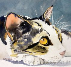 Wistful Kitty, painting by artist Kay Smith and like OMG! get some yourself some pawtastic adorable cat shirts, cat socks, and other cat apparel by tapping the pin! Watercolor Cat, Watercolor Animals, Photo Chat, Guache, Arte Pop, Cat Drawing, Cats And Kittens, Ragdoll Kittens, Funny Kittens