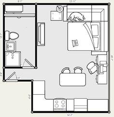 20 X 20 Studio Apartment Floor Plans . 20 X 20 Studio Apartment Floor Plans Studio Apartment Floor Plans, Studio Floor Plans, Studio Apt, Apartment Plans, Apartment Design, Simple House Plans, Tiny House Plans, House Floor Plans, The Plan