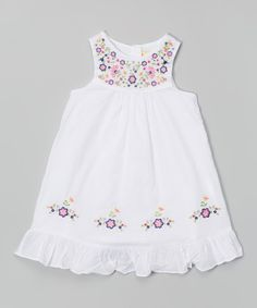 Love this Donita White Floral Swing Dress - Infant by Donita on Frock Patterns, Baby Girl Dress Patterns, Baby Clothes Patterns, Cotton Frocks For Kids, Frocks For Girls, Little Girl Dresses, Toddler Outfits, Kids Outfits, Smocked Baby Dresses