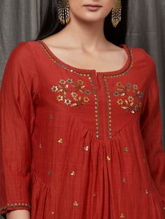 Buy Rust Embellished Cotton Silk Kurta with Mustard Yellow Pants - Set of 2 onli. Summer Fashion Outfits, Casual Summer Dresses, Dresses For Teens, Stylish Dresses, Dress Summer, Embroidery Suits Punjabi, Kurti Embroidery Design, Embroidery Dress, Yellow Fashion