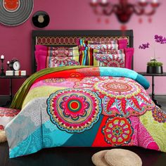 Bohemia/boho duvet cover set heavy brushed duvet cover+bedsheet+Pillowcase 4pc bedding sets queen king 100% sanded Cotton Fabric