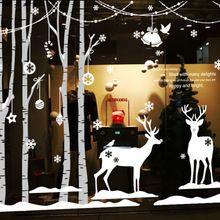 Christmas Wall Stickers Christmas Tree Forest Winter Deer Art Wall Sticker Christmas New Year Store Window Glass Home Decoration(China (Mainland))
