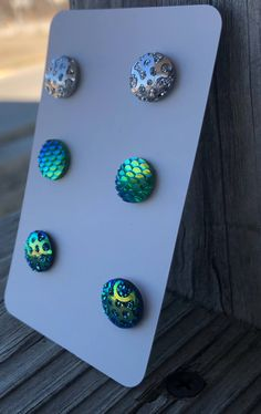 Mermaid earrings mermaid charms druzy charms  iridescent charms purple earrings green stud earrings silver stud earring nickel free jewelry by QXDesigns on Etsy https://www.etsy.com/listing/597341763/mermaid-earrings-mermaid-charms-druzy