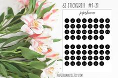 number dots bw for planners bullet journals erin by paperkumaco