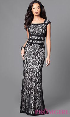 Long Lace Formal Dress with Cap Sleeves at PromGirl.com