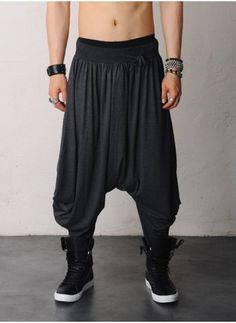 Mens Gigantic Drop Crotch Skirt Harem Viscose Silky Pants at Fabrixquare