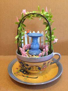 Fairy Garden Tea Cup Miniature Vintage Enchanted by FancysGarden