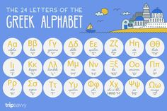 Learn to identify the 24 letters in the Greek alphabet with these handy visuals and pronunciation guides so you don& get lost on your trip to Greece. Alphabet Writing, Greek Alphabet, Alphabet For Kids, Learning Letters, Alphabet Activities, Alphabet Meaning, Greek Bible, Learn Greek, Read Sign
