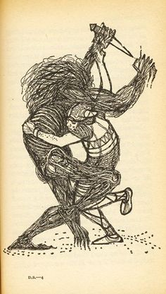 Beowulf Battles Grendel's Mother By CHARLES KEEPING. The Anglo Saxons loved poems and stories which were passed on by word of mouth. They were usually songs about bravery, loyalty and good and evil. The most famous is Beowulf. Dark Ages, Grendel's Mother, Native American Wisdom, Mid Century Art, 17th Century, Beowulf, Anglo Saxon, Typography Prints, Mythology