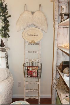 old ladder as display space.  also have seen as magazine/blanket holders.