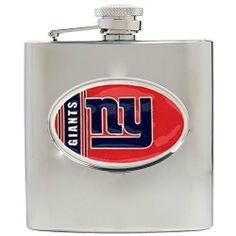 New York Giants 6 oz. Stainless Steel Flask by Great American Products. $43.00. Usually ships within 7-10 business days.. This Officially Licensed flask is decorated in the team colors and proudly displays hand-crafted metal emblem featuring the Team Logo.