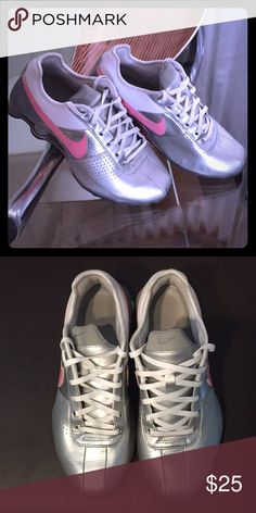 0afa0ed4175f Nike Shox Silver Pink White Nike Shox. In like new condition. Minor creases  in Leather uppers. Nike Shoes Sneakers