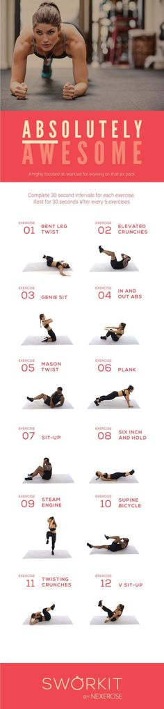 (Abs)olutely Awesome custom workout for Sworkit for iOS and Android. If you have the Sworkit app, you can import this workout directly into the app Fitness Workouts, Fitness Motivation, Sport Fitness, At Home Workouts, Fitness Tips, Health Fitness, Fitness Pal, Core Workouts, Fitness Quotes