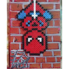 Spiderman perler beads on canvas by 816_custom_creations