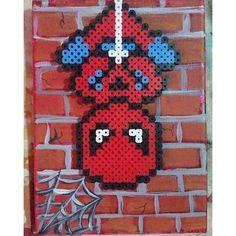 Spiderman perler beads on canvas by 816_custom_creations