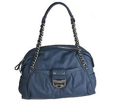 B.Makowsky Glove Leather Zip Top Satchel with Chain and HardwareAccents