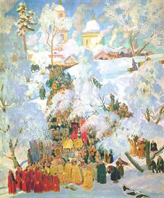 Great Blessing of the Waters by Boris Kustodiev.