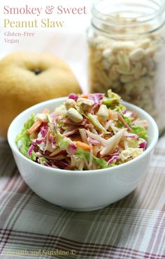 Smokey & Sweet Peanut Slaw | Strength and Sunshine @RebeccaGF666 Smokey and sweet, this slaw has it all. Crunchy cabbage,  crispy Asian pear, shredded carrots, and a smoky peanut sauce to bring it all together. This healthy gluten-free and vegan side dish recipe will bring new meaning to the term coleslaw.