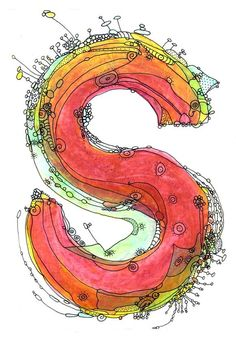 Whimsical letter S funky Art Print by Ingrid Padilla - Epson Ultra Chrome pigment ink on watercolor paper $35