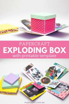 DIY Exploding Gift Box - Try this fun Papercraft Idea! | My Poppet Makes Diy Gift Box, Diy Box, Gift Boxes, Exploding Gift Box, Dollar Store Gifts, Unique Graduation Gifts, Pretty Packaging, Paper Crafts For Kids, Homemade Crafts