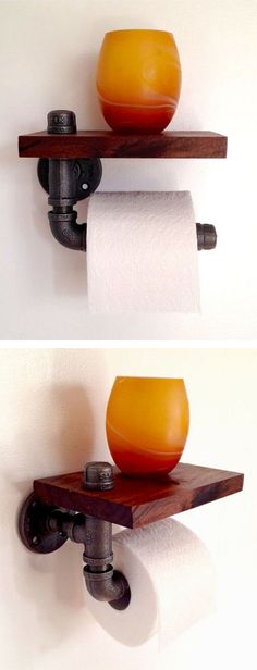 Reclaimed Wood & Pipe Toilet Paper Holder - with a practical shelf! #product_design
