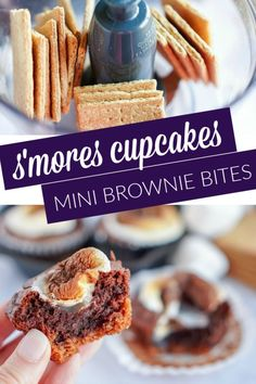 S mores Cupcakes! Mini Brownie Bites Recipe for Summer! These S mores Cupcakes are so easy to make and perfect for parties or camping themes! Mini Brownie Bites, Brownie Bites Recipe, Brownie Cupcakes, Brownie Recipes, Cupcake Recipes, Snack Recipes, Dessert Recipes, Desserts, Chocolate Dip Recipe