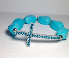 Silver Sideways Cross with Turquoise by CraftinistasBoutique