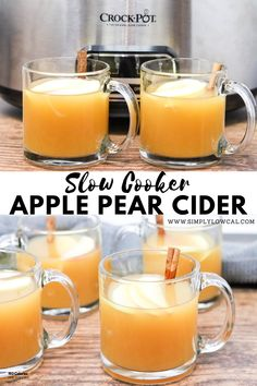 Pear Cider, Apple Cider, Low Calorie Desserts, Low Calorie Dinners, Low Calorie Recipes, Slow Cooker Apples, Slow Cooker Recipes, Apple Pear, Holiday Drinks