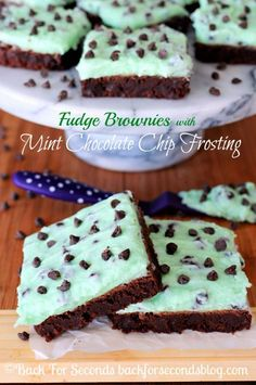 Fudge Brownies with Mint Chocolate Chip Frosting