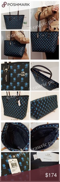"""New Coach black blue floral city zip tote 100% authentic. Black and blue floral coated canvas with black leather trim. Zip top closure and fabric lining. Inside zip and slip pockets. Handles drop 10"""". Measures 16""""top/11""""bottom x 10"""" (H) x 5.5"""" (W). Brand new with tags. Comes from a pet and smoke free home. Coach Bags Totes"""