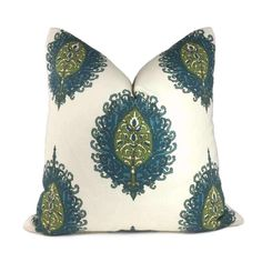 Alfred Shaheen Westminster Blue Green Cream Paisley Medallion Pillow Cover - Fits 14x36 insert (13x35 cover) / Pattern on 1 side