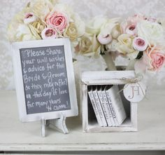 Rustic Guest Book Alternative. Minus the wood books use note cards and a jar instead/
