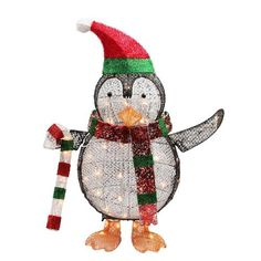 """34"""""""" Lighted Penguin with Candy Cane Christmas Yard Art Decoration"""