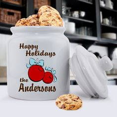 XMas Bulbs Personalized Holiday Cookie Jar