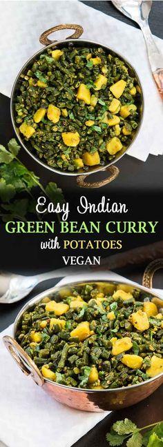 Easy Indian Green Bean Curry with Potatoes #veganfood #glutenfreefood #instantpot #instantpotrecipe #healthyeats #indianfood #veganrecipes #greenbeans #potatoes | Vegetarian Gastronomy | www.VegetarianGastronomy.com