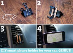 DIY cell phone holder for your car.make it in about 30 seconds and save money!GENIUS DIY cell phone holder for your car.make it in about 30 seconds and save money! Diy Auto, Diy Phone Stand, Cell Phone Hacks, Smartphone Holder, Smartphone Gps, Binder Clips, Car Holder, Phone Holder For Car, Ideas Geniales