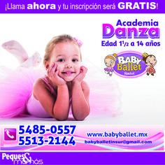 El ballet es una disciplina artística que cuenta con una técnica y terminología establecida y representa la base para cualquier género dancístico. Promueve concentración, precisión y elegancia en los movimientos además de elasticidad y correcta postura corporal.  Insurgentes Sur 4215-101 Col. Santa Úrsula Xitla CP. 14420, Del. Tlalpan, México D.F. Teléfono:(55) 5485-0557, (55) 5513-2144 http://www.pequesymamas.net/#!baby-ballet-insurgentes-sur/c203o