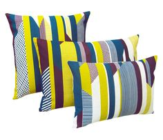 Textured Stripe Cushion: Aubergine, Teal, Lime