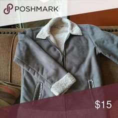 Gray  suede like jackey Gray Lucy & laurel suede like jacket w off white trim Lucy & Laurel  Jackets & Coats