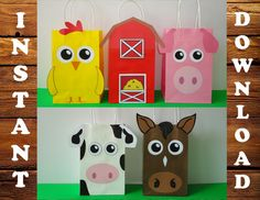 DIY - Printable Barnyard/ Farm/ Barn Animals/ Animal Birthday Party Favor/ Goodie/ Treat/ Candy/ Loot/ pig/ horse/ cow/ chicken/ barn house// goodie Bags/ Bag/ Decoration/ Party Supplies/ Fall Farm party/ Old MacDonald birthday Party / ideas/ Cake/ cupcake toppers/ pastel/ festa fazendinha/ fazenda/ bolo/ convite/ tags/ labels/ stickers/ invite/ invitation/ backdrop/ invitación/ piñata/ games/ free/ cowboy/ cowgirl party/ barnyard bash party