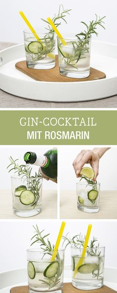 Rezept für einen Gin-Cocktail mit Rosmarin, Drinks für die Party / party drings: gin cocktail with rosemary via DaWanda.com