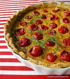 tarta z pomidorami, porem i tymiankiem Pie, Desserts, Recipes, Food, Pinkie Pie, Tailgate Desserts, Deserts, Fruit Flan, Rezepte