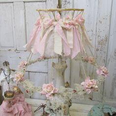Pink shabby cottage lamp shade embellished by AnitaSperoDesign