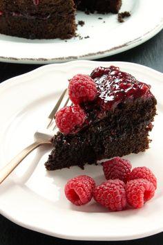 Glutenvrije en lactosevrije chocoladetaart met frambozen - Foodless Gluten Free Desserts, No Bake Desserts, Gluten Free Recipes, Cake & Co, Lactose Free, Low Fodmap, High Tea, No Bake Cake, Favorite Recipes
