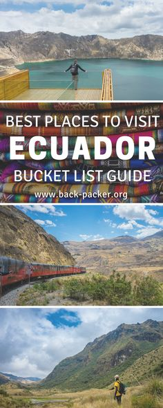 A bucket list worthy guide to exploring Ecuador. While most travelers are familiar with destinations such as the Galapagos Islands and Quito, this guide focuses on more offbeat places that many travelers don't get the chance to experience. Visit an old volcano crater, hike through beautiful national parks, take in the views at Quilotoa. wander old town in Cuenca and more. Places to visit in South America. | Back-packer.org #Ecuador