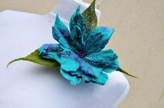 Hey, I found this really awesome Etsy listing at https://www.etsy.com/listing/223242763/felt-flower-brooch-flower-turquoise