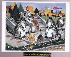 B. KLIBAN (Bernard) CATS ART POSTCARD Kitty dog walking artwork | eBay