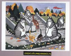 B. KLIBAN (Bernard) CATS ART POSTCARD Kitty dog walking artwork | eBay