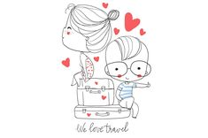 Girl and boy with suitcase in travel by NatalyS on @creativemarket